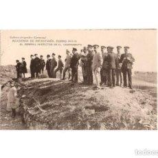 Postales: TOLEDO.- ACADEMIA DE INFANTERÍA. CURSO 1913-14, EL GENERAL INSPECTOR EN EL CAMPAMENTO.. Lote 171138502
