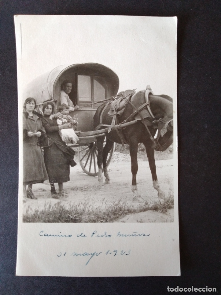 PEDRO MUÑOZ CIUDAD REAL 31 MAYO 1923 FAMILIA EN CARRO POSTAL FOTOGRAFICA (Postales - España - Castilla La Mancha Antigua (hasta 1939))