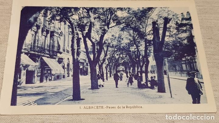 ALBACETE / 1 / PASEO DE LA REPÚBLICA / L. ROISÍN / SIN CIRCULAR. (Postales - España - Castilla La Mancha Antigua (hasta 1939))