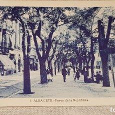 Postales: ALBACETE / 1 / PASEO DE LA REPÚBLICA / L. ROISÍN / SIN CIRCULAR.. Lote 172600443