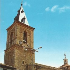 Postales: TARAZONA DE LA MANCHA. FUENTE PLAZA MAYOR, TORRE Y FACHADA IGLESIA. JOSÉ PICAZO. AÑOS 60. . Lote 175681992