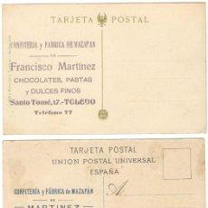 Postales: TRES POSTALES DE TOLEDO - PUBLICIDAD CONFITERÍA Y FÁBRICA DE MAZAPÁN FRANCISCO MARTÍNEZ . Lote 194102380