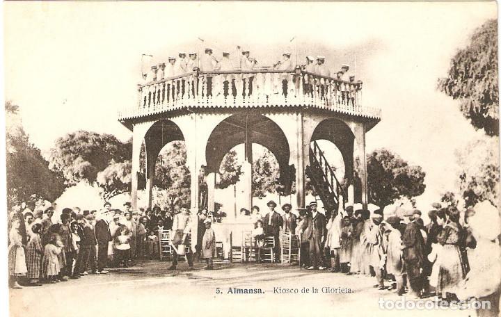ALMANSA (ALBACETE) KIOSCO DE LA GLORIETA. (J.LACOSTE) MUY RARA. (Postales - España - Castilla La Mancha Antigua (hasta 1939))