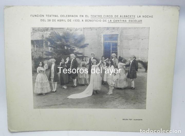 PRECIOSA FOTOGRAFIA DE FUNCION TEATRAL CELEBRADA EN EL TEATRO CIRCO DE ALBACETE, 28 DE ABRIL DE 1920 (Postales - España - Castilla La Mancha Antigua (hasta 1939))