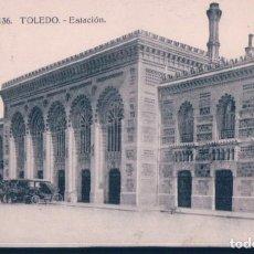 Postales: POSTAL TOLEDO - ESTACION - H A E - HELIOTIPIA - CIRCULADA SELLO ALFONSO XIII - COCHES EPOCA. Lote 195321425