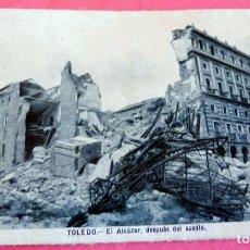 Postales: TARJETA POSTAL - TOLEDO - AL ALCÁZAR DESPUES DEL ASEDIO - ESCRITA 1946 CON SELLO - . Lote 197234691
