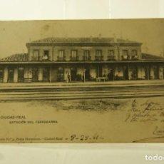 Postales: RARA CIUDAD REAL LA ESTACION 1905 ECRITA Y FRANQUEADA. Lote 197298977