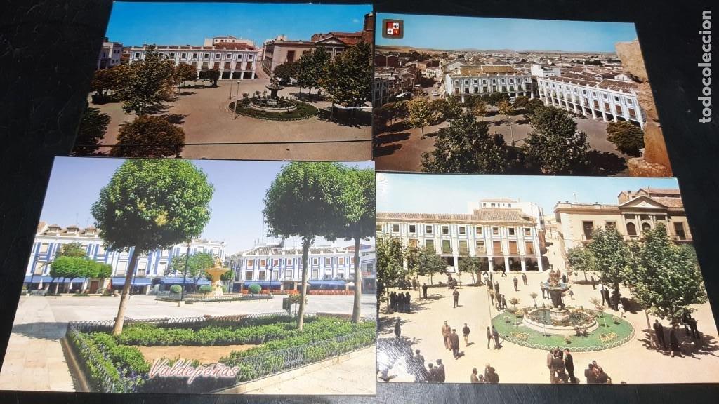 POSTALES ANTIGUAS DE VALDEPEÑAS CIUDAD REAL PANORAMICAS DE LA PLAZA DE ESPAÑA LOTE 4 UDS. (Postales - España - Castilla La Mancha Antigua (hasta 1939))