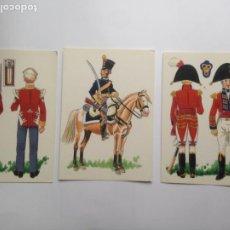 Postales: LOTE 3 POSTALES - UNIFORMES DE LA BATALLA DE TALAVERA 2 EJERCITO INGLÉS 1 EJERCITO ESPAÑOL. Lote 204229555