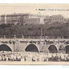 Cartes Postales: MADRID ANTIGUA POSTAL-TENDEDERO EN EL PUENTE SEGOVIA Y PALACIO - NUEVA. Lote 213009765