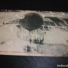 Postales: POSTAL DE GUADALAJARA PARQUE DE AEROSTACION INFLACCION DE UN GLOBO ESFERICO 3ª FASE MILITAR 1911. Lote 219215176