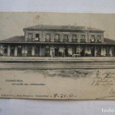 Postales: RARA CIUDAD REAL LA ESTACION FERROCARRIL TREN 1905 ECRITA Y FRANQUEADA SIN DIVIDIR. Lote 224444715