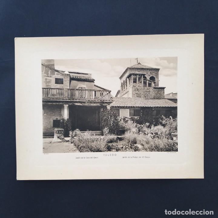 GRAN FOTOTIPIA- FOTOGRAFÍA IMPRESA JARDIN DE LA CASA EL GRECO ,TOLEDO, FOTO OTTO WUNDERLICH, (Postales - España - Castilla La Mancha Antigua (hasta 1939))
