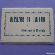 Postales: LOTE 4 MINI POSTALES ALCAZAR DE TOLEDO GENERAL MOSCARDO,DECLARACION ESTADO GUERRA 1960. Lote 235642315