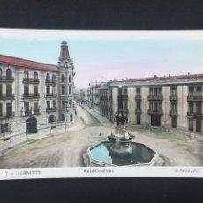 Postales: ALBACETE - PLAZA CANALEJAS - Nº 17 ED. L. ROISIN - COLOREADA. Lote 236005995
