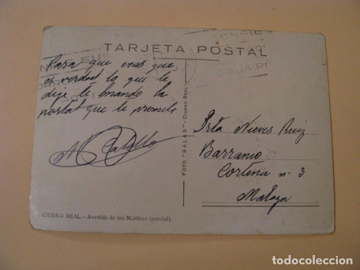 Postales: POSTAL DE CIUDAD REAL. AVENIDA DE LOS MÁRTIRES. (PARCIAL). FOTO SALAS. CIRCULADA. - Foto 2 - 242203515