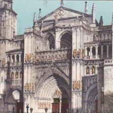 Postales: TOLEDO FACHADA DE LA CATEDRAL. ED. PURGER & CO. MÜNCHEN. REVERSO SIN DIVIDIR. CIRCULADA EN 1905. Lote 267827199