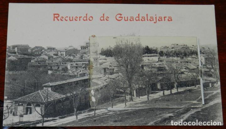 POSTAL RECUERDO DE GUADALAJARA, VISTAS DESPLEGABLES AEROSTACION ACADEMIA INGENIEROS, EXCELENTE ESTAD (Postales - España - Castilla La Mancha Antigua (hasta 1939))
