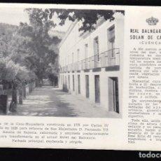 Postales: CUENCA.- REAL BALNEARIO DE SOLAN DE CABRAS. Lote 293660618