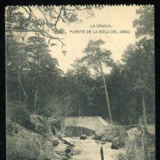 Postales: TARJETA POSTAL DE LA GRANJA, SEGOVIA. PUENTE DE LA BOCA DEL ASNO. FOTOTIPIA HAUSER Y MENET - MADRID. Lote 4222546