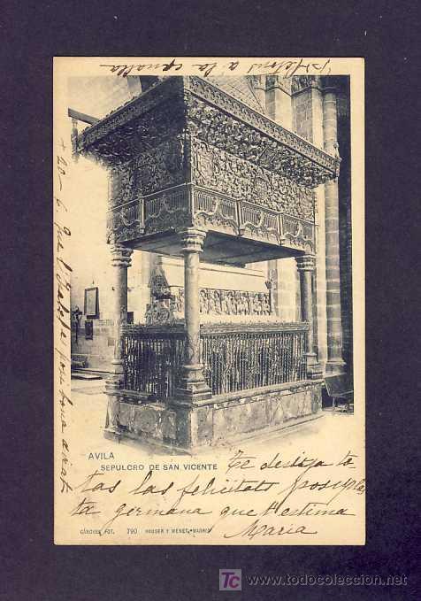 POSTAL DE AVILA: SEPULCRO DE SAN VICENTE (HAUSER Y MENET NUM.790) (Postales - España - Castilla y León Antigua (hasta 1939))