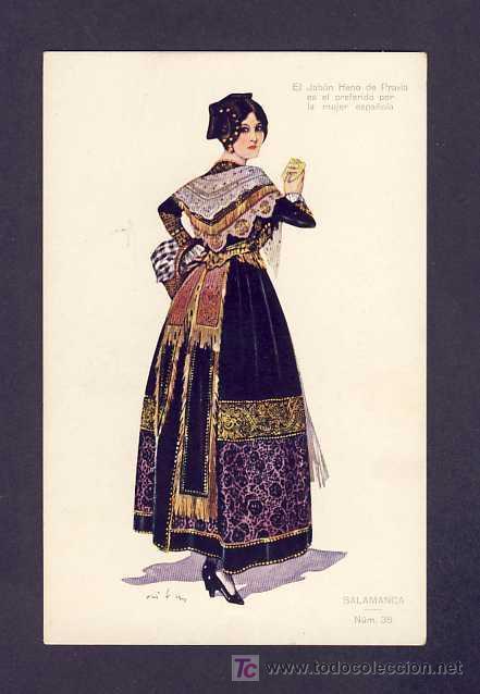 POSTAL DE SALAMANCA: MUJER, CON PUBLICIDAD DE JABONES HENO DE PRAVIA (NUM.38) (Postales - España - Castilla y León Antigua (hasta 1939))