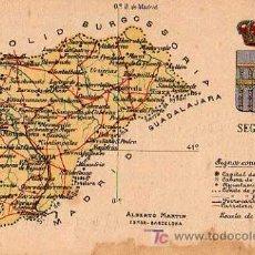 Postales: SEGOVIA , ALBERTO MARTIN, EDITOR BARCELONA, MAPA PROVINCIA. Lote 7745401