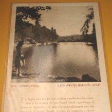 Postales: ANTIGUA POSTAL DE LAS NAVAS DEL MARQUES - AVILA - LAGO DE LA CIUDAD DUCAL - AÑO 1946 - CURIOSA POSTA. Lote 21079285