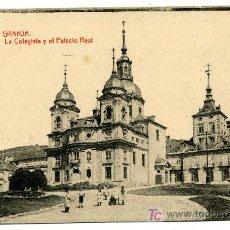 Postales: LA GRANJA - LA COLEGIATA Y EL PALACIO REAL- 1016 FOTOTIPIA THOMAS-BARCELONA. Lote 8363819