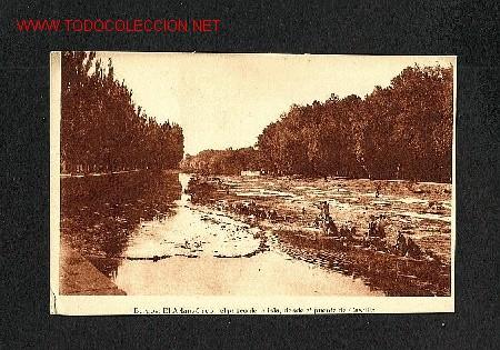 POSTAL DE BURGOS: EL ARLANZON CON EL PASEO DE LA ISLA, DESDE EL PUENTE DE CASTILLA (GRAF.VILLARROCA) (Postales - España - Castilla y León Antigua (hasta 1939))