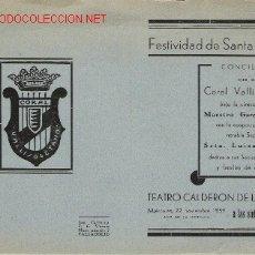 Postales: VALLADOLID RARISIMO PROGRAMA DE LA CORAL VALLISOLETANA DEL AÑO 1939 AÑO DE LA VICTORIA. Lote 9717340
