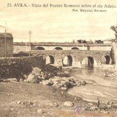 Postales: AVILA. VISTA DEL PUENTE ROMANO SOBRE EL RÍO ADAJA. POSTAL TONOS SEPIAS, C. 1950. AV. Lote 25731879