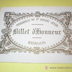 Postales: BURGOS ANTIGUA TARJETA PREMIO COLEGIO DEL NIÑO JESUS (FRANCESAS) SIGLO XIX. Lote 26833534