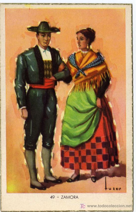 BONITA POSTAL - ZAMORA - PAREJA CON TRAJE REGIONAL (Postales - España - Castilla y León Antigua (hasta 1939))