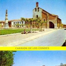Postales: TARJETA POSTAL DE CARRION DE LOS CONDES PLAZA D SANTA MARIA Y PUENTE SOBRE EL RIO CARRION PALENCIA. Lote 17536030