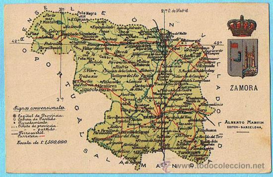 mapa con escudo de la provincia de zamora albe  Comprar Postales