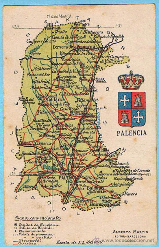 Mapa Con Escudo De La Provincia De Palencia Al Comprar Postales