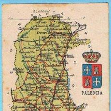 Postales: MAPA CON ESCUDO DE LA PROVINCIA DE PALENCIA. ALBERTO MARTIN EDITOR. BARCELONA.. Lote 21498142