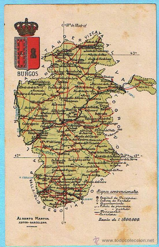 Mapa Con Escudo De La Provincia De Burgos Albe Comprar Postales