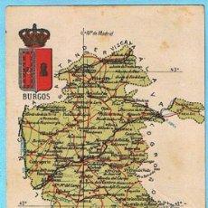 Postales: MAPA CON ESCUDO DE LA PROVINCIA DE BURGOS. ALBERTO MARTIN EDITOR. BARCELONA.. Lote 21498147
