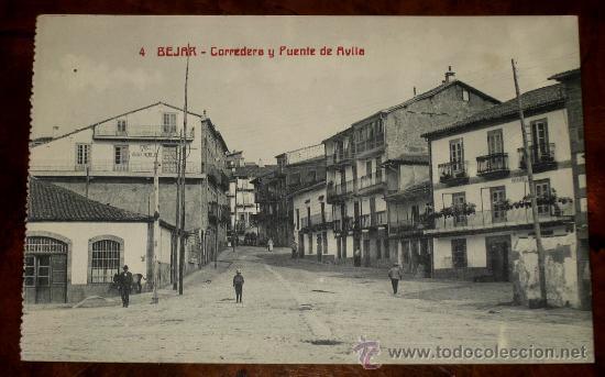 ANTIGUA POSTAL DE BEJAR (SALAMANCA) CORREDERA Y PUENTE DE AVILA - CASTAÑEIRA - SIN CIRCULAR (Postales - España - Castilla y León Antigua (hasta 1939))