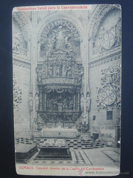 """BURGOS. CATEDRAL. INTERIOR CAPILLA CONDESTABLE"". PUBLICITARIA, CON SELLO 1/4 CTS PTA. FINAL S.XIX (Postales - España - Castilla y León Antigua (hasta 1939))"