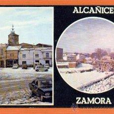 Postales: ALCAÑICES - ZAMORA - PLAZA RELOJ BAJO LA NIEVE - ADUANA CARRETERA A PORTUGAL - DISTREX LEON. Lote 27263546
