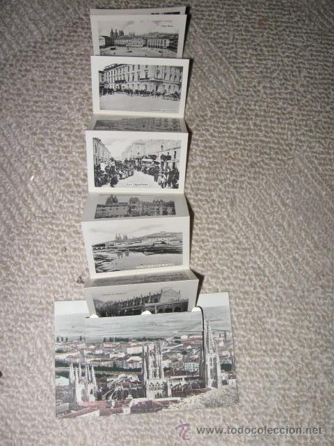 VISTA PANORÁMICA DE BURGOS, CON VENTANA EN LA QUE SE DESPLIEGA UNA TIRA DE 12 VISTAS (Postales - España - Castilla y León Antigua (hasta 1939))