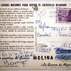 Postales: SALAMANCA. BEJAR. LA GASEOSA DE BÉJAR. MOLINA. LIGERAS NOCIONES PARA GUISAR EL CALDERILLO BEJARANO.. Lote 29034897