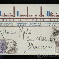 Postales: PEÑAFIEL. TP COMERCIAL *MATERIAL ESCOLAR Y DE OFICINA* CIRCULADA1947.. Lote 31406341