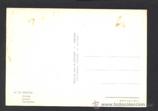 Postales: Segovia. *Alcazar* Ed. M. Royuela - Alarde nº 12. Nueva. - Foto 2 - 32060342