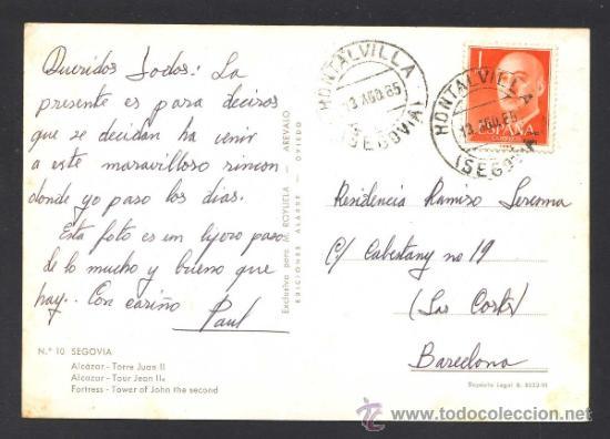 Postales: Segovia. *Alcazar...* Ed. M. Royuela - Alarde nº 10. Circulada - Foto 2 - 32060374