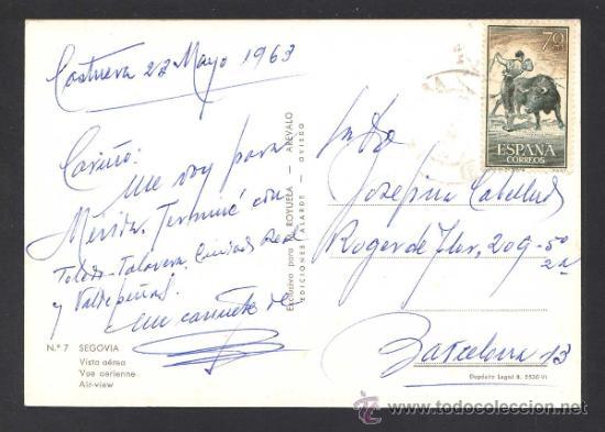 Postales: Segovia. *Vista aerea* Ed. M. Royuela - Alarde nº 7. Circulada 1963. - Foto 2 - 32060407