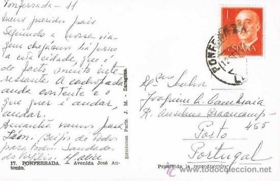 Postales: PONFERRADA - AVENIDA JOSE ANTONIO - LEON - RRR POSTAL FOTOGRAFICA COLOREADA A MANO - AÑOS 50 - Foto 2 - 33301448